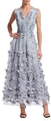 David Meister Floral Applique Mesh Dress