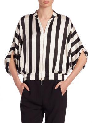 Armani Collezioni Armani Jeans Striped Silk Dolby-Striped Blouse $520 thestylecure.com