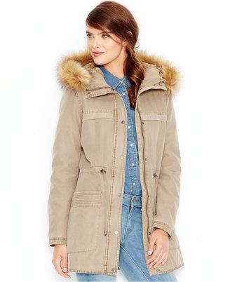 Levi's® Faux-Fur-Trim Hooded Parka Jacket $200 thestylecure.com
