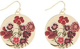 Accessorize Printed Floral Disc Earrings