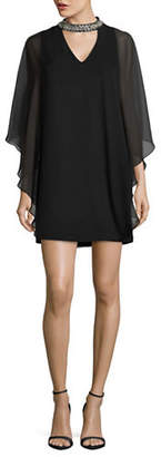 Xscape Evenings Chiffon Overlay Choker Dress