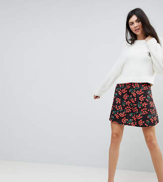 Asos Tall TALL Skater Skirt in Cherry Print