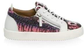 Giuseppe Zanotti Snake-Embossed Leather Low-Top Sneakers