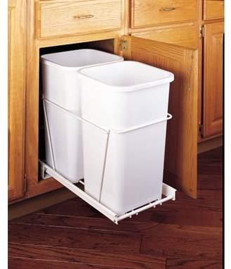 Rev-A-Shelf Double Bottom Mount White Wire Waste Containers - RV-18PB-2 S - 35 QT - White / White