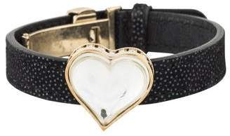 Lalique Crystal Heart Leather Bracelet