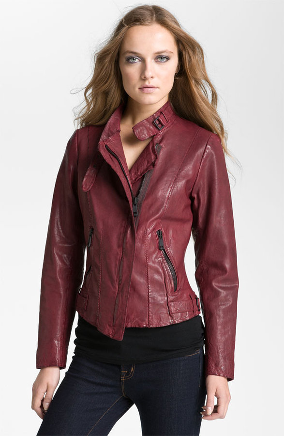 Andrew Marc New York Asymmetrical Leather Moto Jacket