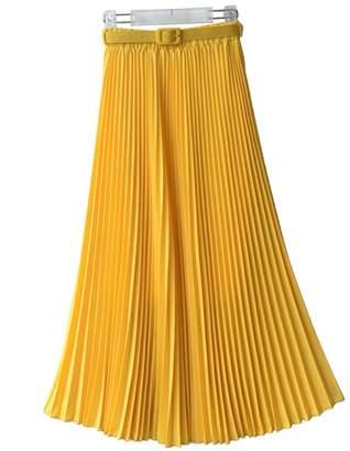 Uhomedecor Women's Long Chiffon Elastic Waist Maxi Beach Skirt Pleated Dress