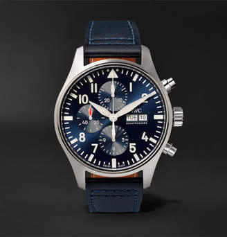 Le Petit Prince IWC SCHAFFHAUSEN + Santoni Pilot's Edition Chronograph 43mm Stainless Steel And Leather Watch And Belt Set