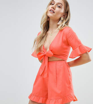 Asos Design Petite Playsuit With Cut Out And Tie Detail In Linen