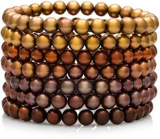FINE JEWELRY Dyed Chocolate Freshwater Pearl 7-pc. Stretch Bracelet Set