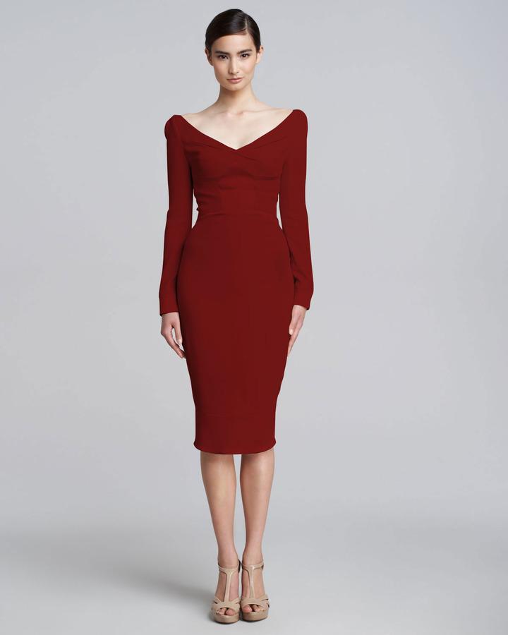 Zac Posen Satin-Panel Long-Sleeve V-Neck Dress