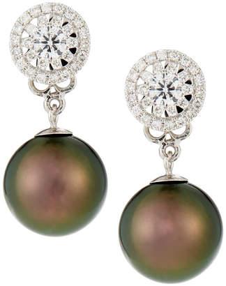 Belpearl 18k White Gold Diamond-Post & Tahitian Pearl Earrings