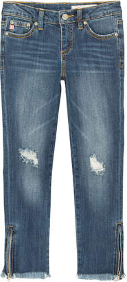 AG Jeans Farren Distressed Raw-Hem Embroidered Jeans w/ Zip Ankles, Size 7-14