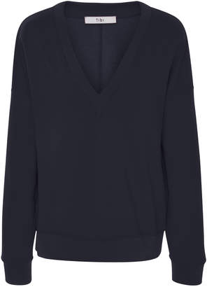 Tibi V-Neck Draped Back Sweatshirt