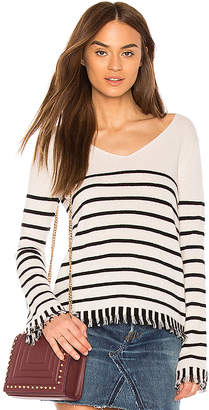 White + Warren Striped Fringe V Neck