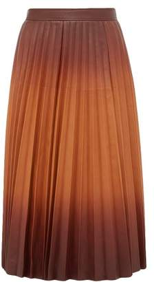 Givenchy Degrade Pleated Leather Midi Skirt - Womens - Brown Multi