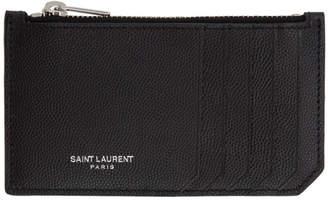 Saint Laurent Black Five Fragments Card Holder