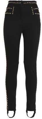 Balmain Studded Stretch-Cotton Slim-Leg Pants