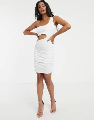 Fashionkilla going out one shoulder cutout ruched mini dress in white