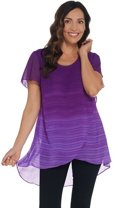 Halston H By H by Petite Ombre' Printed Chiffon Overlay Short Sleeve Tunic