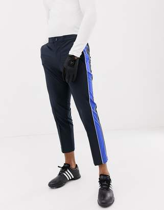 J. Lindeberg Ivan micro stretch pants with side taping in navy