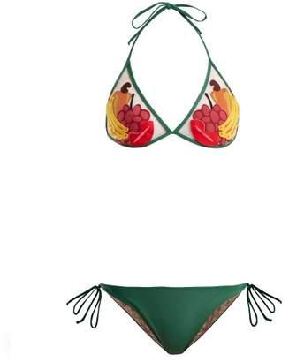 Charlotte Olympia Adriana Degreas - X Tutti Frutti Applique Bikini - Womens - Green Multi
