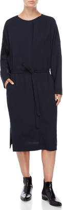 Jil Sander Navy Belted Long Sleeve Shift Dress