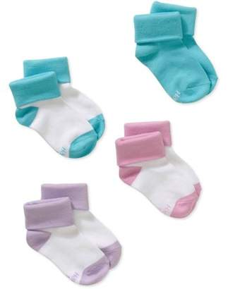 Hanes Girls' Comfort Soft Turncuff Socks, 4 Pairs