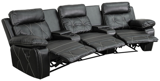 Offex Real Comfort Series 3-seat Reclining Leather Theater Seating Unit with Curved Cup Holders