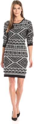 Jessica Simpson Women's Long Sleeve Knit Dress with Aztec Print Black/White SM (Women's 4-6)