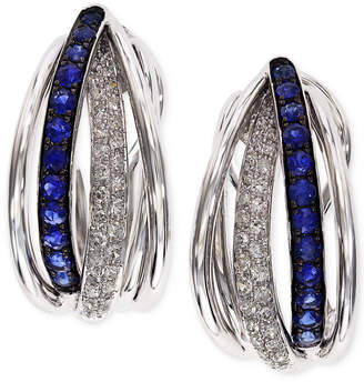 Effy Royale Bleu by Sapphire (3/8 ct. t.w.) and Diamond (1/4 ct. t.w.) Hoop Earrings in 14k White Gold