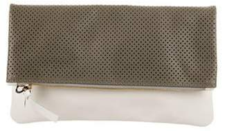 Clare Vivier Perforated Leather Foldover Clutch grey Perforated Leather Foldover Clutch