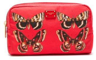 Dolce & Gabbana Butterfly Print Zip Around Cosmetics Bag - Womens - Red Multi