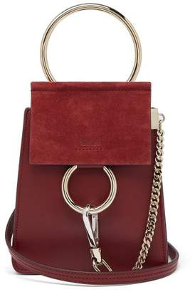 Chloé Faye Mini Suede Panel Leather Cross Body Bag - Womens - Burgundy