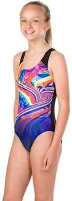 Speedo Girls Multi Print Splashback Swimsuit - Black
