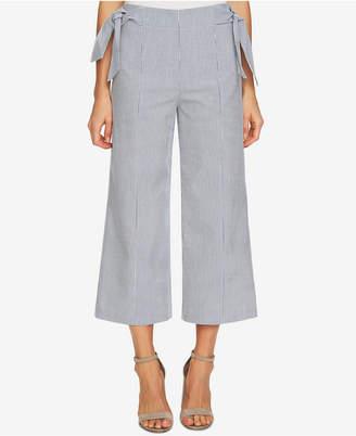 CeCe Cropped Seersucker Side-Tie Pants