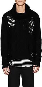 NSF Men's Distressed Wool-Blend Oversized Sweater-Black Size M