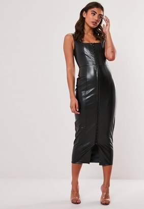 Missguided Black Faux Leather Bodycon Midi Dress