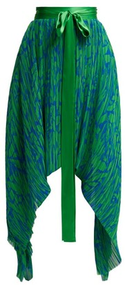 Preen by Thornton Bregazzi Maria Pleated Georgette Midi Skirt - Womens - Green Multi