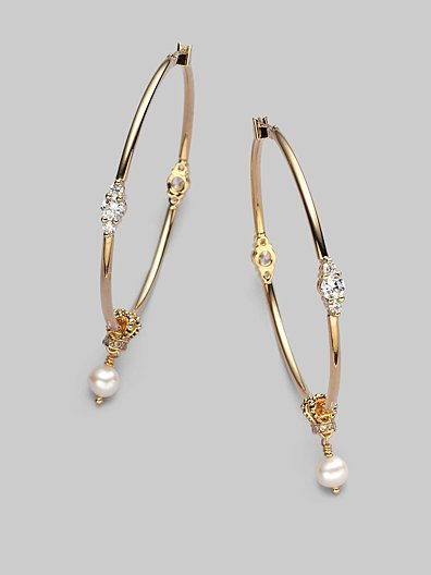 Juicy Couture Embellished Hoop Earrings/2½