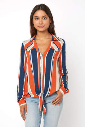 Abbeline Multi Stripe Tie Front Button Down Shirt