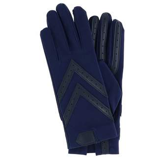 Isotoner Women's Spandex Shortie Gloves with Leather Palm Strips