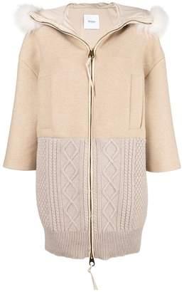 Agnona fur coat with knit panel