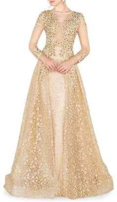 Mac Duggal High-Neck 3/4-Sleeve Lace Overlay Illusion Gown w/ Bead Embellishment