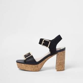 River Island Womens two part cork heel sandals gbBe3jJ45W