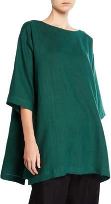 eskandar Scoop-Neck Step-Hem Linen Tunic