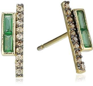 Tai Emerald Pave Stick Earrings
