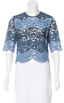 Sandro Short Sleeve Lace Blouse $145 thestylecure.com
