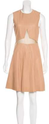 Cushnie Leather A-Line Dress Tan Leather A-Line Dress