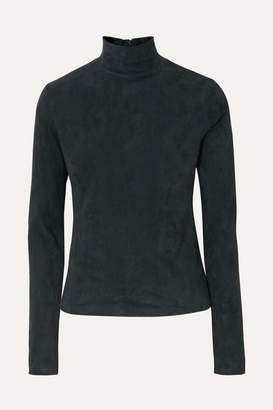 The Row Beatty Suede Turtleneck Top - Green